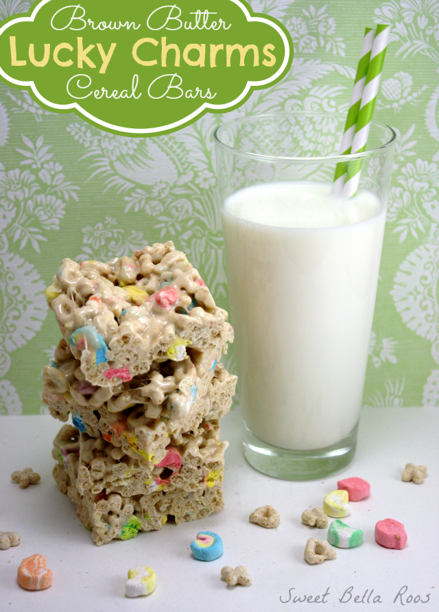 Brown Butter Lucky Charms Cereal Bars sweetbellaroos.com #recipes