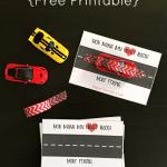 Race Car Valentine Cards: Free Printable