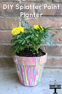Super easy DIY Splatter Paint Planter- so cute for Mother's Day or teacher gift and great for kids to make!!