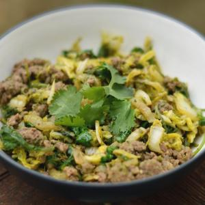 Ground Beef Skillet with Pesto and Greens (Low-FODMAP)