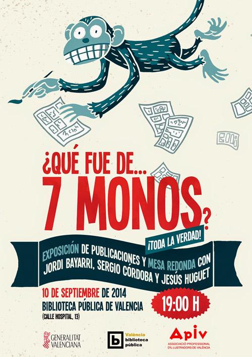 Cartel de la exposición y charla en la Biblioteca de Valencia sobre el sello de cómic 7 MONOS