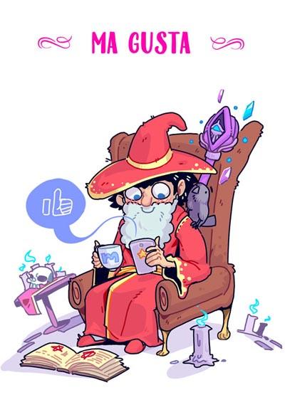 MAGUSTA, ilustración del GRAN LIBRO DE LOS MAGOS, de Grafito Editorial
