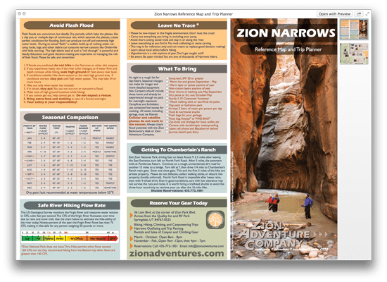 Zion Narrows Reference Map and Trip Planner PDF