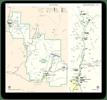 Zion National Park Map Alternate PDF