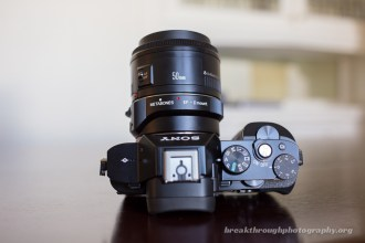 Sony A7R with Canon EF 50mm 1.8 top