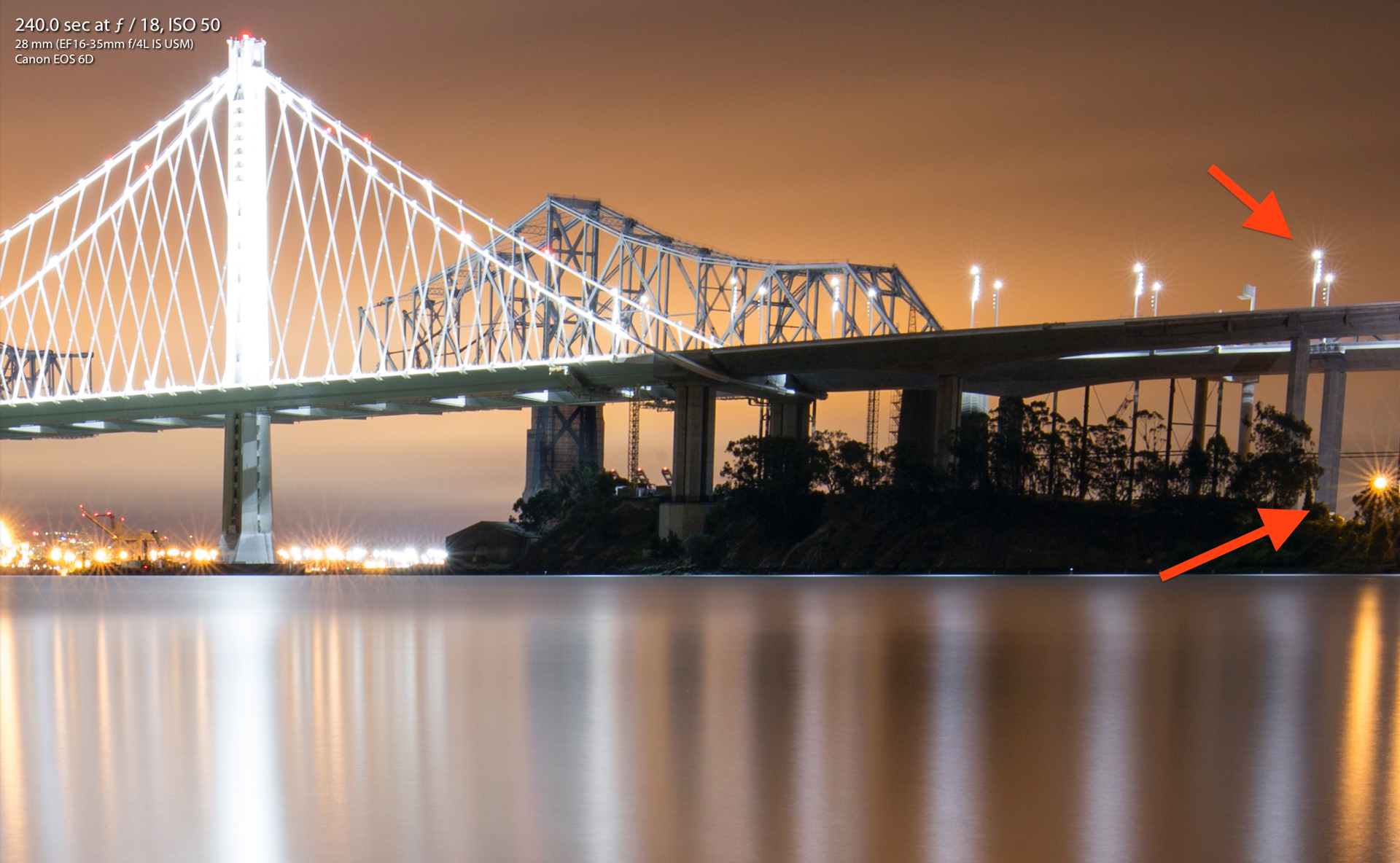 Canon 16-35mm F4 IS on Canon EOS 6D San Francisco Bay Bridge Nightscape Long Exposure Sharpness Test