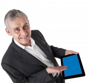 Mature man with ipad