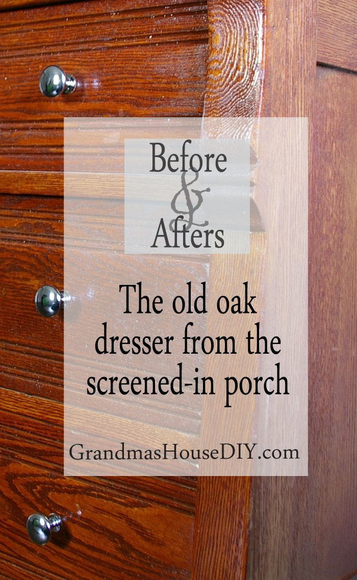 Before and after of an antique ancient oak dresser that I found out on my grandma's screened in porch refinished with red oak stain by minwax sanded sand diy do it yourself wood working