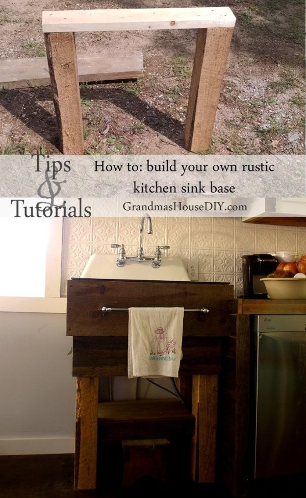 Country Mouse City Spouse Monday Mish Mash Link Party #26 Feature: How to Build Your Own Rustic Kitchen Sink Base at Grandma's House DIY