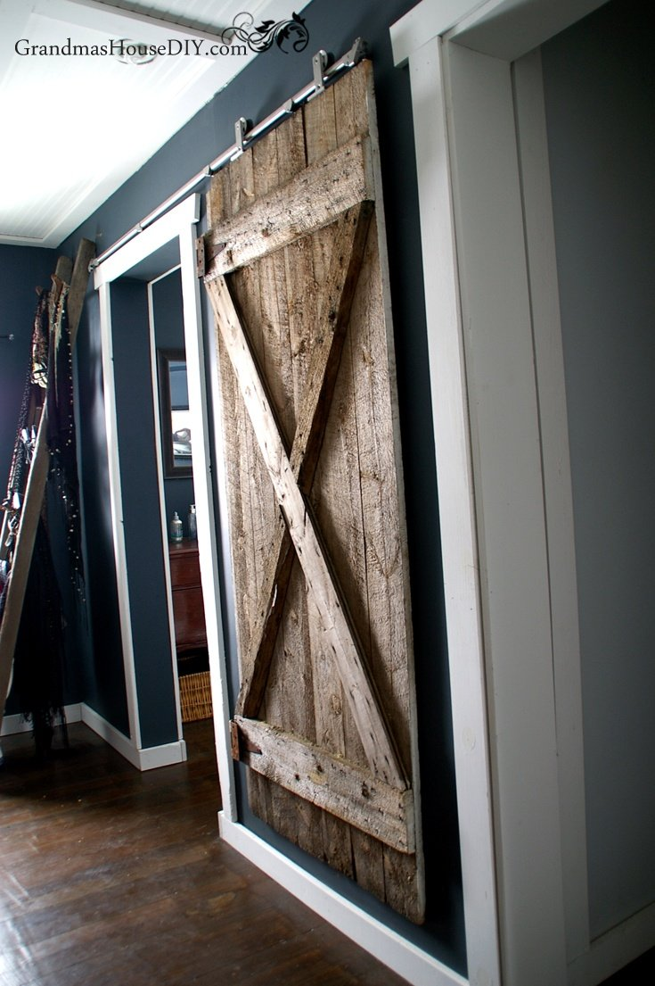 We finally got our hanging barn door up! by Grandma's House DIY