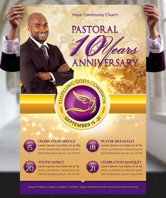 Clergy Anniversary Flyer and Poster Template : GraphicMule