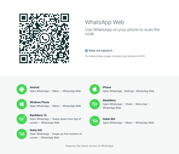 WhatsApp Web welcome screen