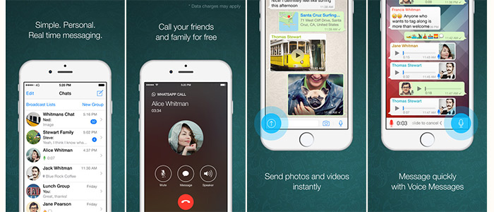 Whatsapp screen shots in apps for free voice and video calls feature
