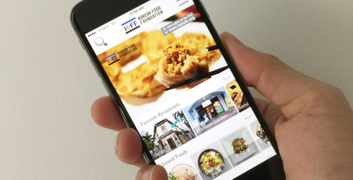 Interface of Korean Restaurant Guide app