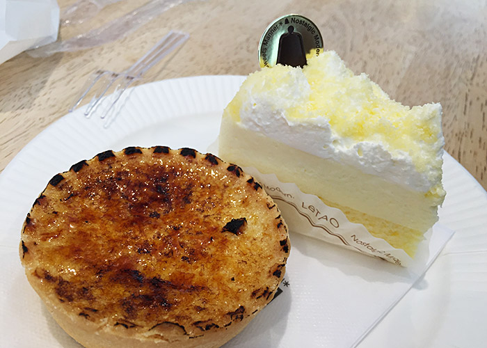 leTao double fromage cheesecake and brulee tart