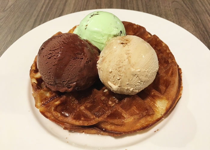 3 scoops of gelato ice cream on waffles, The Butcher's Kitchen