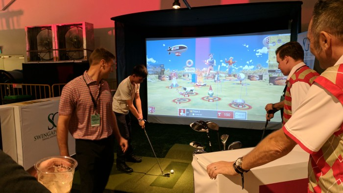 Take a swig, swing we mean, at the virtual golf station