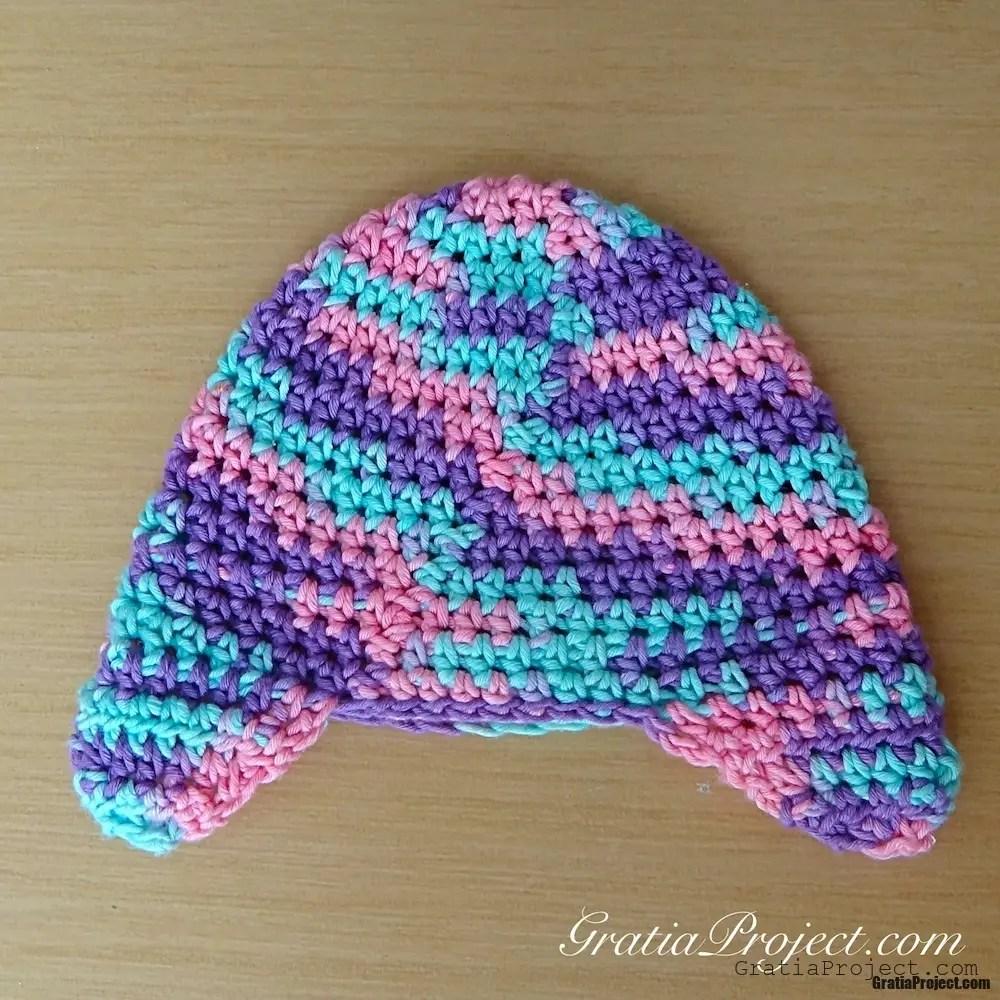 Crochet Earflap Hat Patterns For Beginners : Baby Earflap Hat Crochet Pattern Gratia Project
