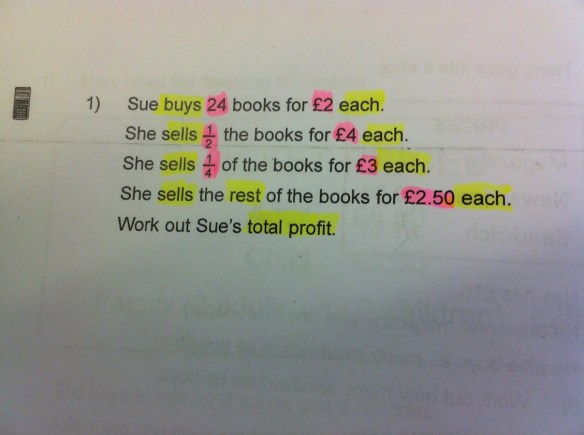 Highlighting numbers in one colour and key maths vocabulary in another