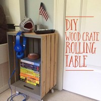 DIY wood crate rolling table & bench