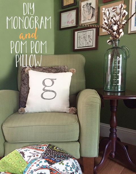 monogram pom pom pillow text