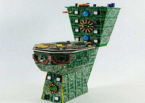Recycled Circuit Board toilet