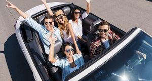 Traveling with fun. Top view of young happy people enjoying road