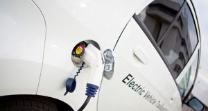 White Electric Car Charging Outdoor