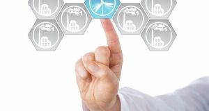 Blue wind energy icon selected by touch. The right index finger of a business person is choosing this renewable energy symbol in an interface with hexagonal smoking factory buttons. Cutout over white.