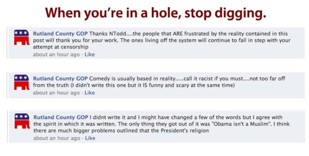 Rutland County GOP digs the hole deeper on racist post