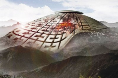 Volcano Skyscraper 2013 Chinese Designers Propose VolcanElectric Mask to Tap Volcano Energy