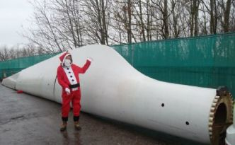 Santa and Wind Turbine Blade