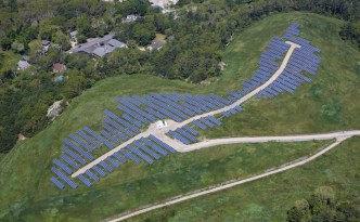 Landfill top filled with solar panels