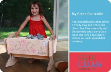 Green Lullaby Makes Recycled Dollhouses and Doll Cradles