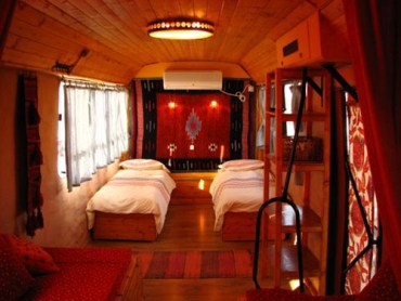 The Wheels of the Converted Zimmer Bus Go Recycled and Green at Exodia Bed and Breakfast