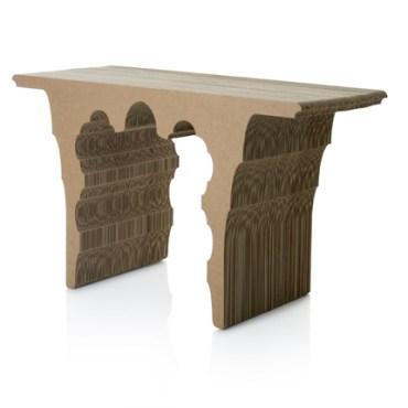 Sanserif Creatius Carves A Cardboard Table With Arabic Devotion