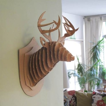 Cardboard Mounted Deer Heads for the Eco Conscious Decorator