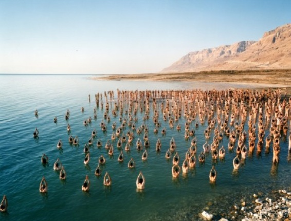 Spencer Tunick, Dead Sea, eco-art, photography, nudity, Israel, politics