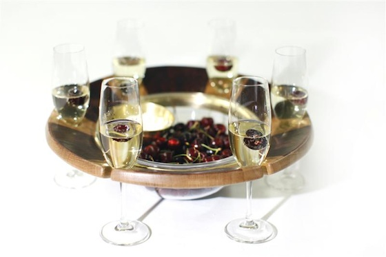 serving platter, tableware, wine glass, fruit bowl, recycled wood