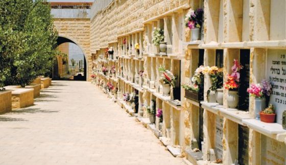 dense burial niche israel flowers