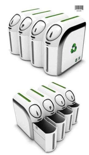 green eco trash bin clean cubes bar code trash