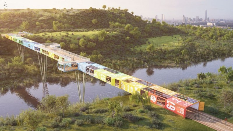 World's First Shipping Container Bridge Over Tel Aviv's Trash Mountain