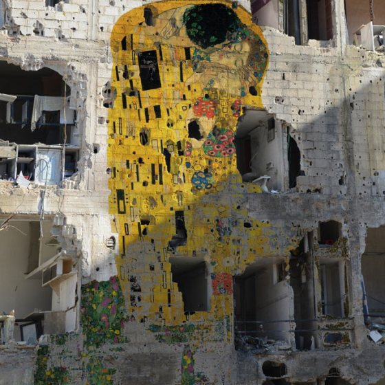 Tammam Azzam, The Kiss, Gustav Klimpt, Syria, war, love, refugees, art,