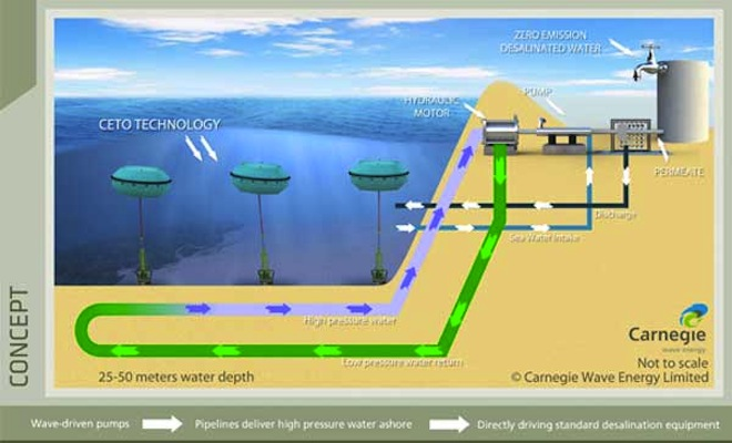 Carnegie Wave Power, Australia, wave-powered desalination, Middle East, water security, clean water, clean energy