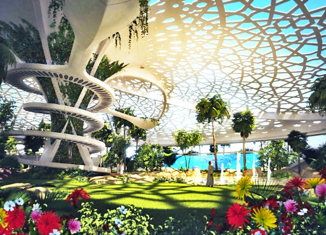 A Palace for Nature, Qatar architecture, green design, sustainable design, eco-design, solar power, water scarcity Middle East, botanical oasis, daylighting, energy efficient design, recycled gray water, on-site desalination