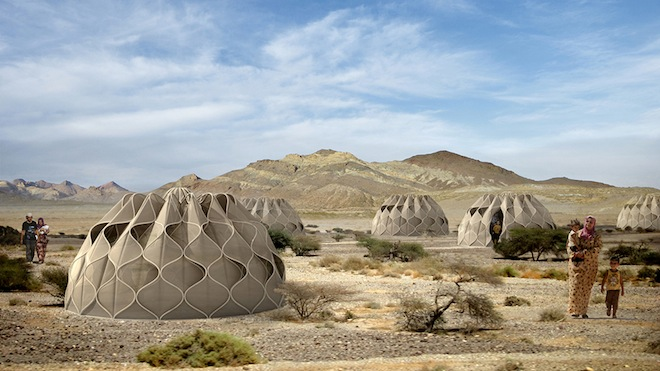 Collapsible woven refugee shelters powered by the sun