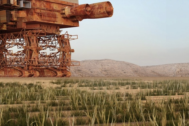 Green Machine, Stephane Malka,  Yachar Bouhaya, desertification, green the Sahara, city on tank treads, roaming desert city, nomadic city, Morocco, Venice Biennale, Sahara Desert