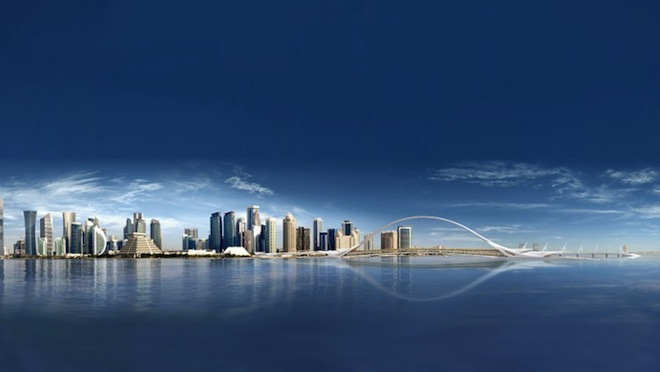 Santiago calatrava, Doha Bay, Sharq Crossing, highline-type park for Doha, 2022 World Cup, Qatar, Doha Skyline park, elevated park Doha, green space Doha