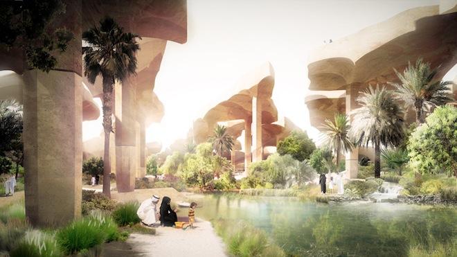 Sunken Oasis, Thomas Heatherwick, urban park, abu dhabi, desert, evaporation, desert park, urban planning, urban design