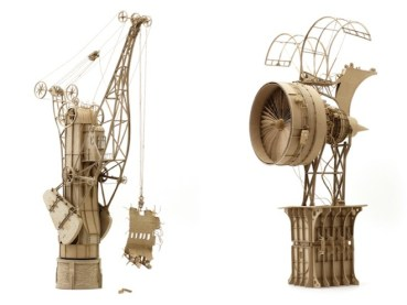Daniel Agdag's whimsical flying machines made of cardboard and glue
